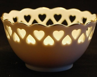 LENOX bowl with heart rim, rose center and gold trimmed