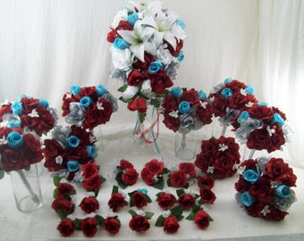 Red White and Pool Colored Bridal Bouquets Lilies and Roses Wedding Flowers Boutonnieres CUSTOM 29 pieces made to order Flower Package