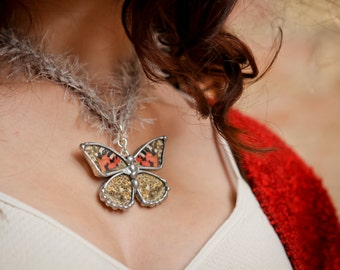 Real Butterfly Necklace and Brooch, Painted Lady Butterfly