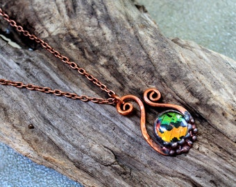 Madagascan Sunset Moth Copper Necklace, Real Butterfly Jewelry