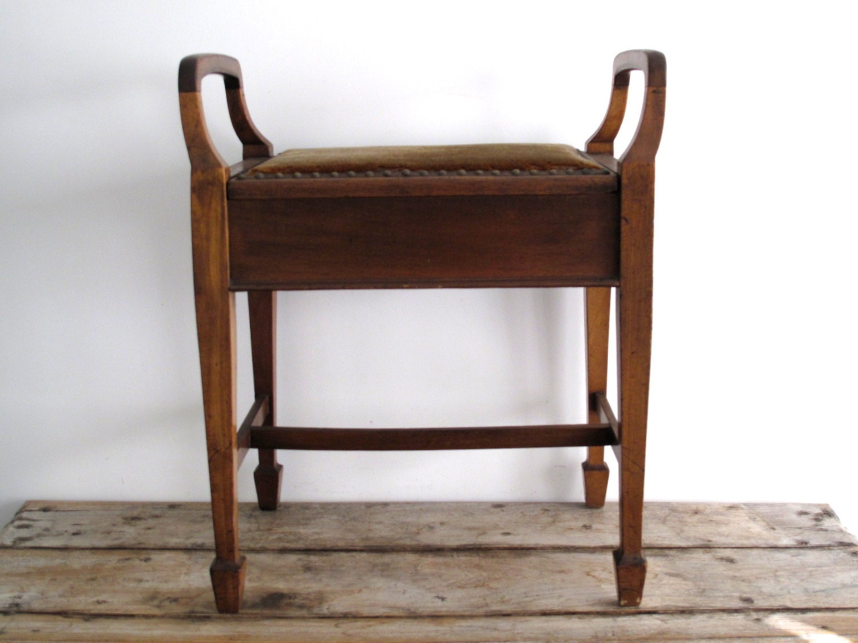 Vintage Wood Piano Bench Storage Bench Velvet By Snapshotvintage