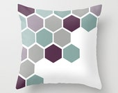Throw Pillow Cover Special Price 17% Off - Hexagons Beehive Color Design - 16x16, 18x18, 20x20 - Original Design Home Décor by Adidit