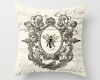 Throw Pillow Cover - Crowned Framed Queen Bee on Vintage Ephemera - 16X16, 18X18, 20X20 - Pillow Case Design Home Décor by Adidit