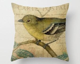 Throw Pillow Cover - Yellow Bird on Vintage Postcard Ephemera - 16x16, 18x18, 20x20 - Nursery Original Design Home Décor by Adidit