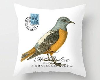 Throw Pillow Cover - Blue Orange Bird on Vintage French Ephemera - 16x16, 18x18, 20x20 - Pillow case Original Design Home Décor by Adidit