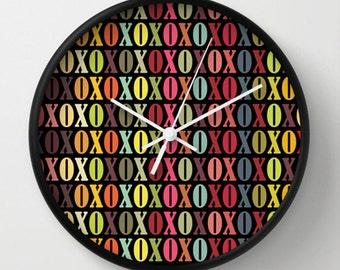 XOXO Wall Clock - XOXO Multicolor Wall Clock - Black Ombre - Original Design - Home decor by Adidit