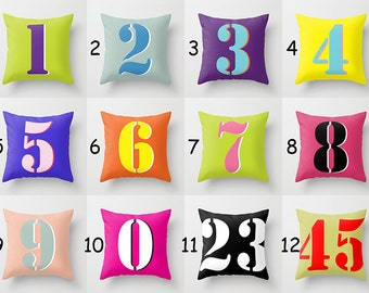 Throw Pillow Cover - Multicolor Numbers - 16x16, 18x18, 20x20 - Living Room Original Design Nursery Baby Home Décor by Adidit