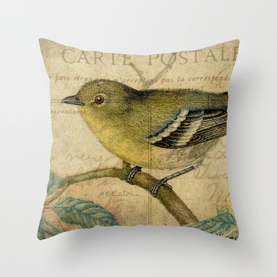 Yellow Bird Throw Pillows : Throw Pillow Cover Yellow Bird on Vintage Postcard Ephemera