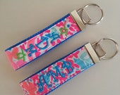 Lilly Monogrammed Key fob with Sweet Little Turtles Keychain Sorority Greek Monogram