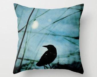Pillow Cover, Crow Pillow, Black Blue Pillow, Raven Pillow, Black Bird Pillow, Blue Throw pillow, 16x16 18x18 20x20 Decorative Pillow