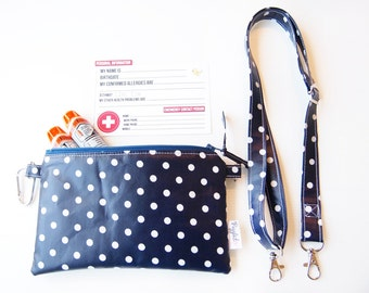 EpiPen Case with an Optional Adjustable Shoulder Strap, Medical ID Card, and a Carabiner - Navy Blue and White Stripe (Oilcloth)