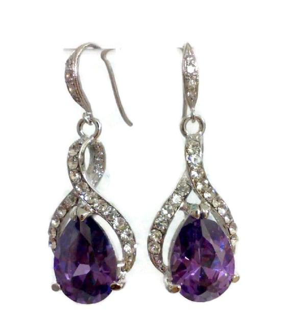 Purple Bridal Earrings, Cz Bridesmaid Earrings, Teardrop Wedding Jewelry, Drop Bridal Jewelry, Bridesmaid Jewelry, Gift for Her, TWIRL