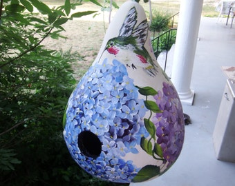 Hand painted Hydrangea and hummingbird  gourd birdhouse, gourd birdfeeder