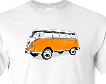 Volkswagen Bus Drawing T-Shirt Available in White or Ash Grey or Sand S,M,L,XL