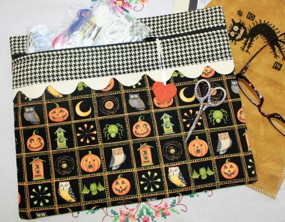 Haunted Houndstooth Halloween Cross Stitch, Sewing, Embroidery Project Bag