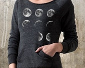Women's Sweatshirt with Off The Shoulder Neckline - Alternative Apparel Maniac Sweatshirt - Moon Phases