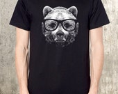 Nerdy Grizzly Bear T-Shirt - Men's Graphic Tee - American Apparel - All Sizes Available