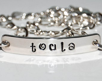 Sterling Name bracelet, two sided, silver id bracelet, personalized silver bracelet, child identification bracelet, inside message bracelet