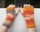 Multicolor Fingerless Mittens Wrist Warmers Gloves Orange Beige Ecru Brown Crochet Winter Accessories Christmas Gift by dodofit on Etsy