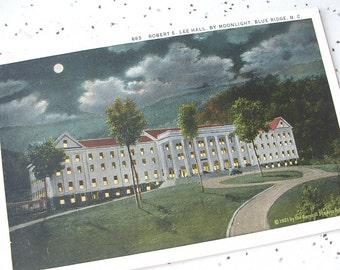 Antique Robert E. Lee Hall by Moonlight postcard, 1921, Blue Ridge North Carolina, antique postcard, Civil War architecture Pittsburgh