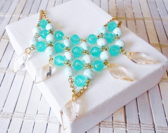 Mint Blue Beaded Bib Necklace with Champagne Pink Drops