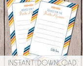 Printable baby shower games, Advice for the bride and groom card, navy blue and orange bridal shower wedding shower games INSTANT DOWNLOAD
