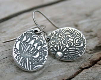 Sterling and Fine Silver Rustic Floral Teardrop Dangly Earrings with Antiqued Finish.