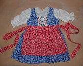 Blue and Red Winter Snowflake Baby Dirndl