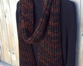 Knit Scarf, Long Knit Scarf, Wool Fisherman Ribbed Winter Scarf