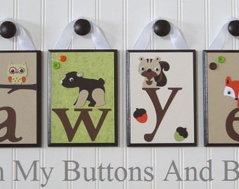 Name Letters . Hanging Name Letters . Wall Letters . Name Blocks . Nature Theme . Woodland Theme . Sawyer