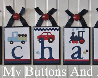 Baby Name Decor . Hanging Name Letters . Hanging Crib Name Letters . Name Blocks . Children's Wall Decor . Cars Vehicles Trains . Michael