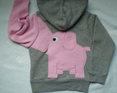 Toddler girls zip front hoodie, hooded sweatshirt, gray with pale pink elephant trunk sleeve, elephant back 4T