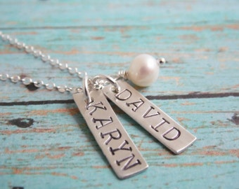 Necklace with Kids Names Sterling Silver Stamped Tags, You Choose How Many Names