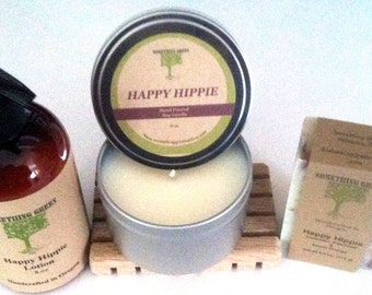 Happy Hippie Gift Set, Natural Soap, Lotion, Soy Candle