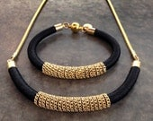 Black and Gold Knitted Silk Necklace