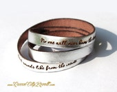 Personalized Leather Wrap Bracelet, Silver Metallic Leather, Custom Script Text, Adjustable
