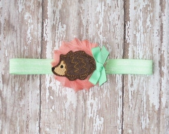 Peach and Mint Green Hedgehog Headband | Other Colors Available, Design Your Own | Newborn-Adult