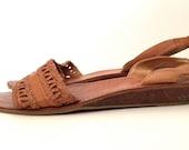 Vintage 80s Brazilian Leather Ankle Tie Sandals Size 7