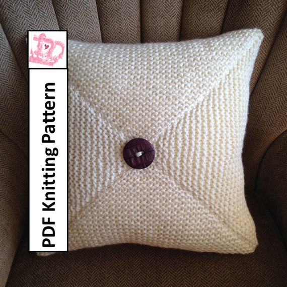 Free Cushion Cover Knitting Patterns : Knit pillow cover pattern PDF KNITTING PATTERN knitted