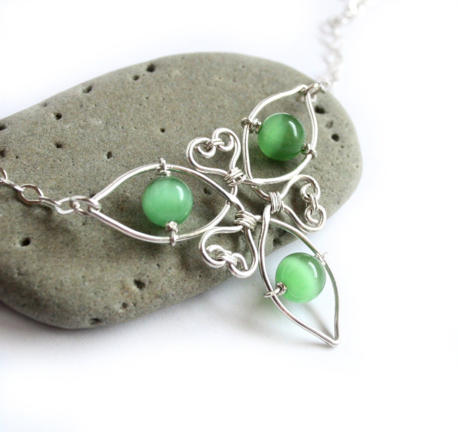 celtic knot triquetra necklace silver wire wrapped and green