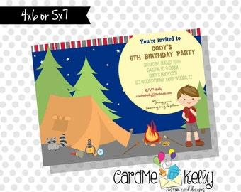 Printable Camping Campfire Night Tent Sleepover Birthday Invitation - Digital File
