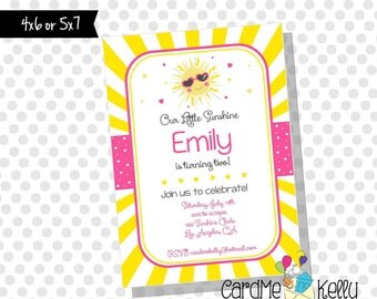 Printable Girlie You are my sunshine little sunshine sun Birthday Party Invitation - Digital File