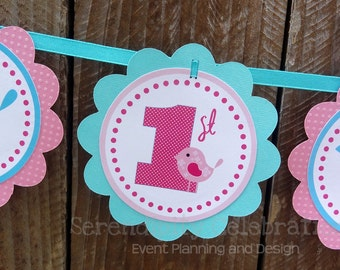 Personalized Scalloped Word Banner -Sweet Tweet -Birthday -Baby Shower -Party Banner -Photo Prop -Birdie Banner -Pink Aqua