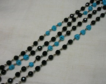 Flapper Beads Necklace, Black & Turquoise Czech Glass, Opera Length 60 inches