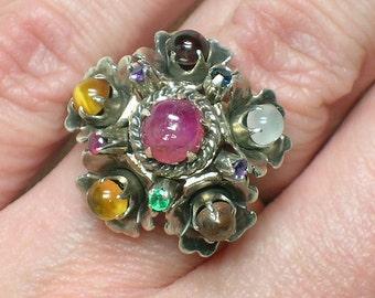 Thai Princess Ring, Sterling Silver & Natural Gemstones, 1960s Mod era Cluster. Size 4 3/4