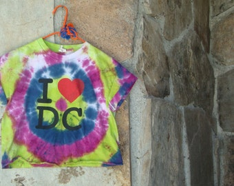 CROPPED TIE DYE tee t-shirt bright I love heart D C small upcycled vintage