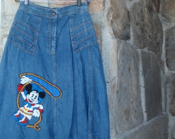 70s DENIM COWGIRL SKIRT vintage Minnie Mouse midi rodeo western M