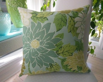 Shabby Chic Pillow  Large Dahlia Floral Design Pillow - Dusk Blue, Grayed Jade and Cream -  Reversible 20 x 20 Inch - Pillow Insert Included