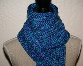 CLEARANCE SALE - Jewel Toned Scarf - Blue/Purple/Teal/Green - One Size Only - Ready To Ship - Handmade & Crocheted
