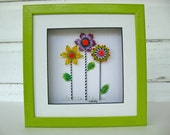 Whimsical glass flower picture in green painted shadowbox frame